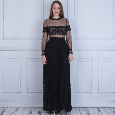 Tessa Long Pleated A Line Maxi Dress With Mesh In Black