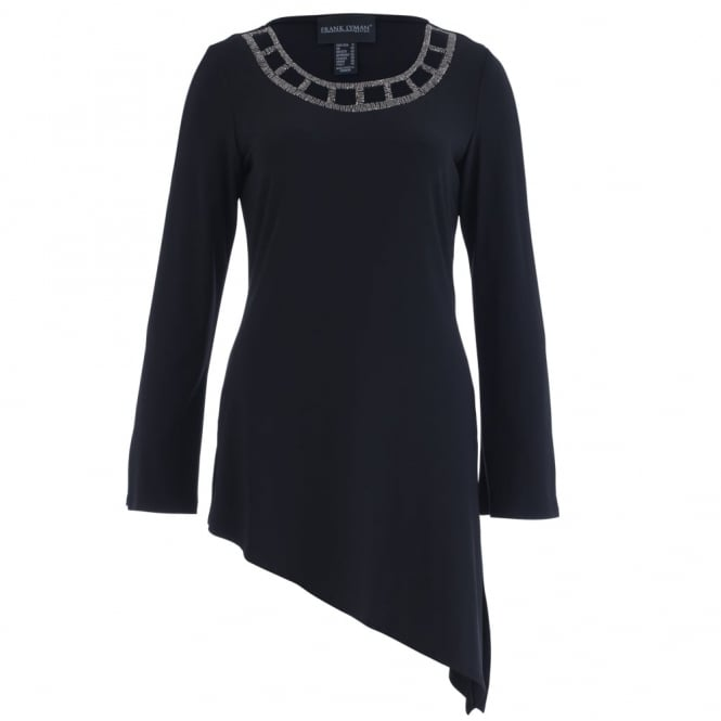 FRANK LYMAN Scoop Neck A Symetric Hem Top With Jewels Detail In Black