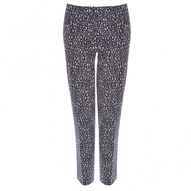 GARDEUR Cropped Cotton Pant with Crackled Print in Black & White