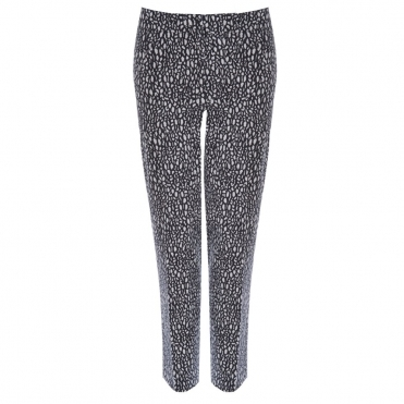 Cropped Cotton Pant with Crackled Print in Black & White