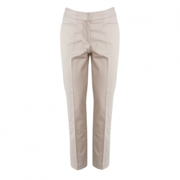 Dyan Cropped Glazed Cotton Pant in Beige