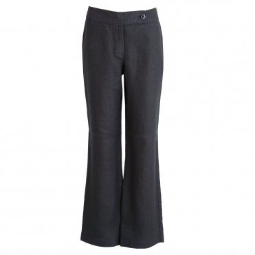 Fran Easy Leg Plain Linen Pant in Black