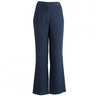 Fran Easy Leg Plain Linen Pant in Navy