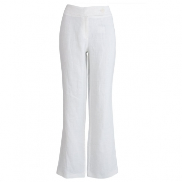 Fran Easy Leg Plain Linen Pant in White