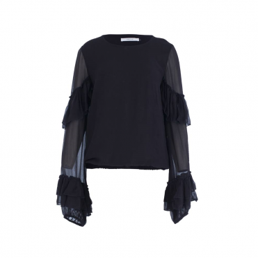 Frill Arm Blouse In Black