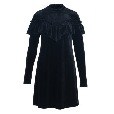 Gestuz Locklyn Velvet Frill Dress in Black