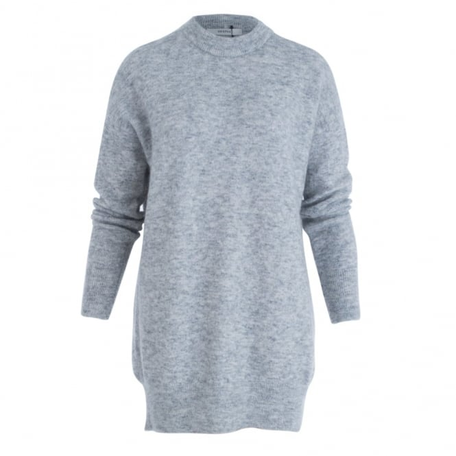 GESTUZ Turtle Neck Long Textured Jumper In Grey