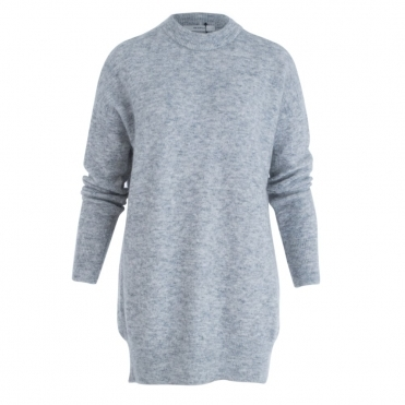 Turtle Neck Long Textured Jumper In Grey