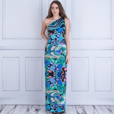 One Shoulder Print Maxi Dress In Multi