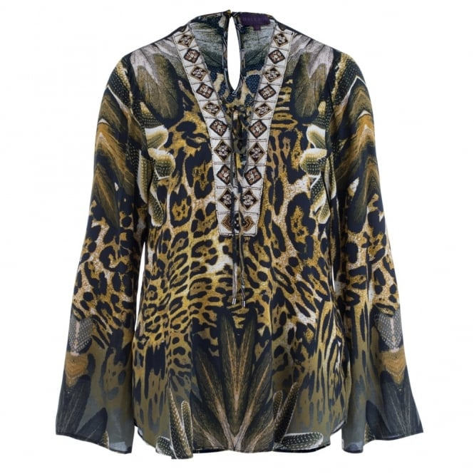 HALE BOB Tie Front Animal Print Blouse With Jewel Detail