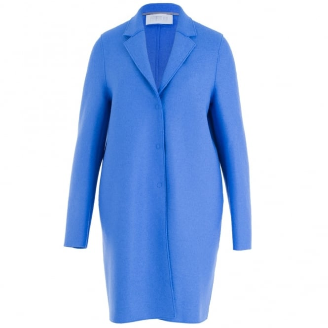 HARRIS WHARF LONDON Pressed Wool Cocoon Coat With 3 Buttons In Electric Blue