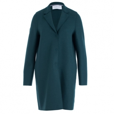 Pressed Wool Cocoon Coat With 3 Buttons In Emerald Green