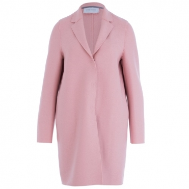 Pressed Wool Cocoon Coat With 3 Buttons In Rose Pink