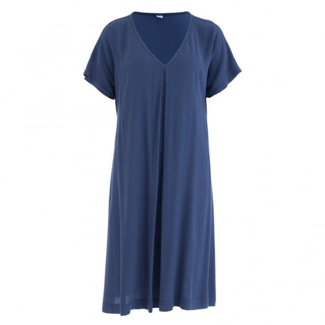 HW2 Crepe Pleat Front Dress In Midnight Blue