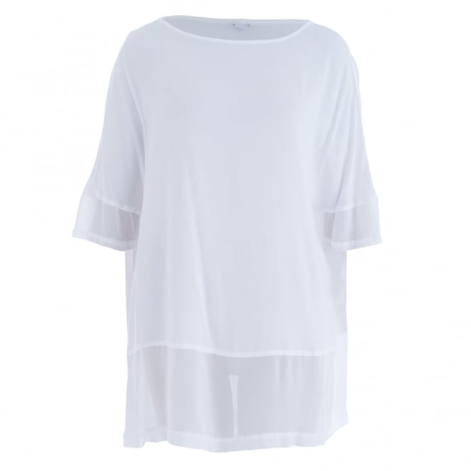 HW2 Georgette T Shirt With Mesh Hem In White
