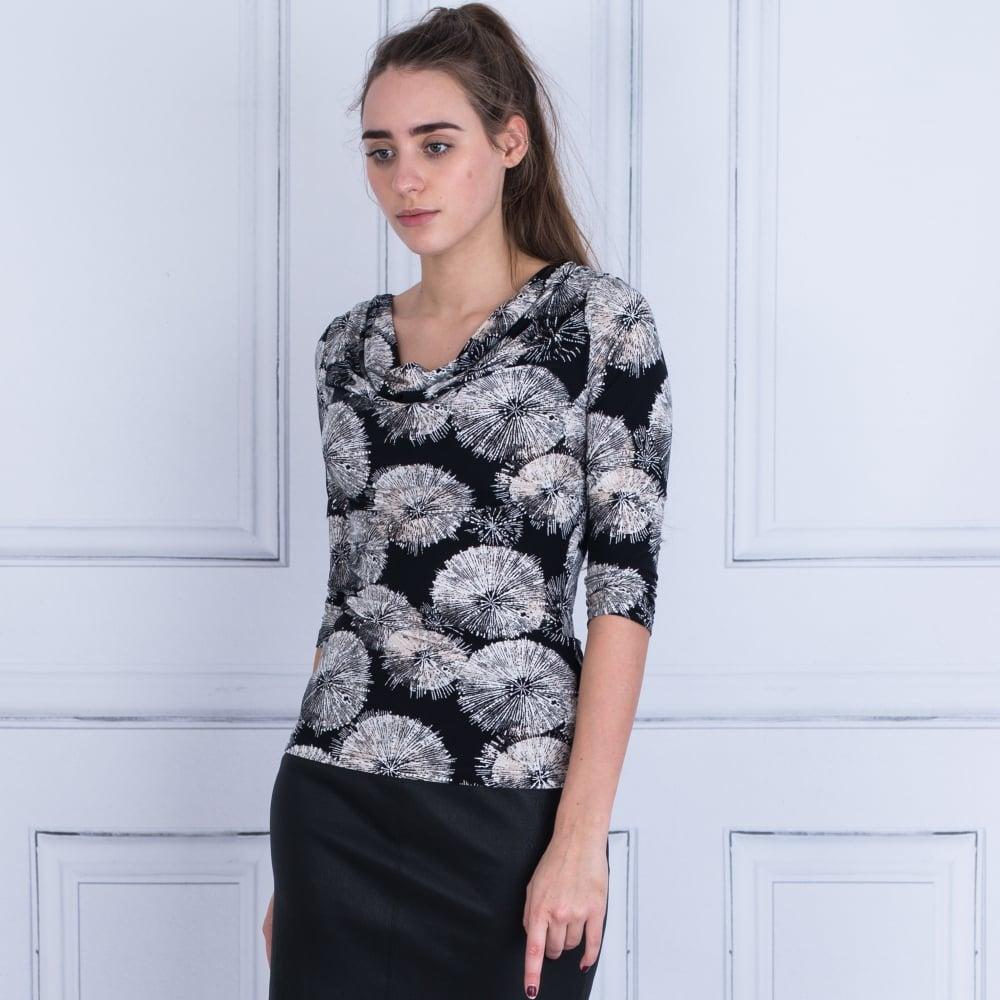 3747cb15d4aa Ilse Jacobsen Dandelion Print Drape Front Top Black/White