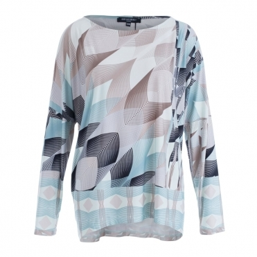 Graphic Print Long Sleeve Scoop Neck T-shirt In Beige & Turquoise