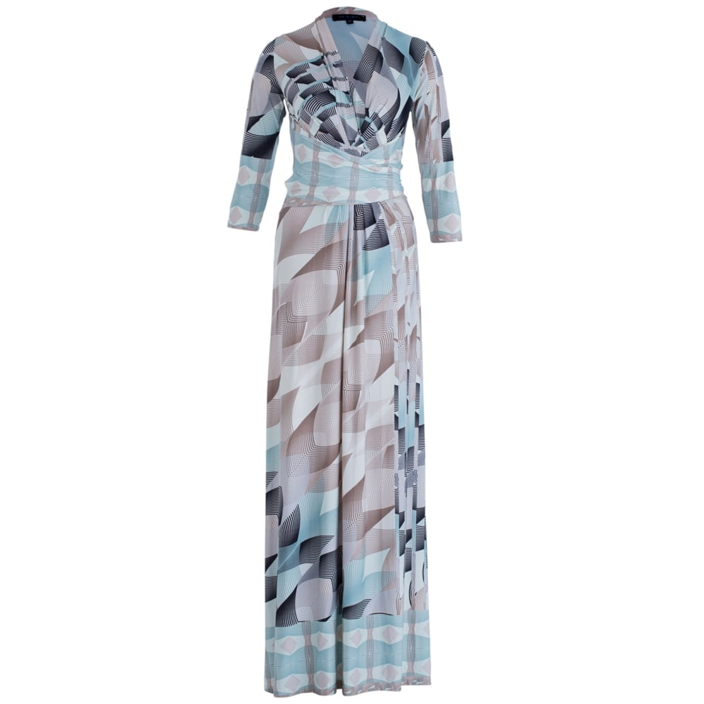 101926be78ce Ilse Jacobsen NICE 21 EF Graphic Print Maxi Dress In Beige   Turquoise