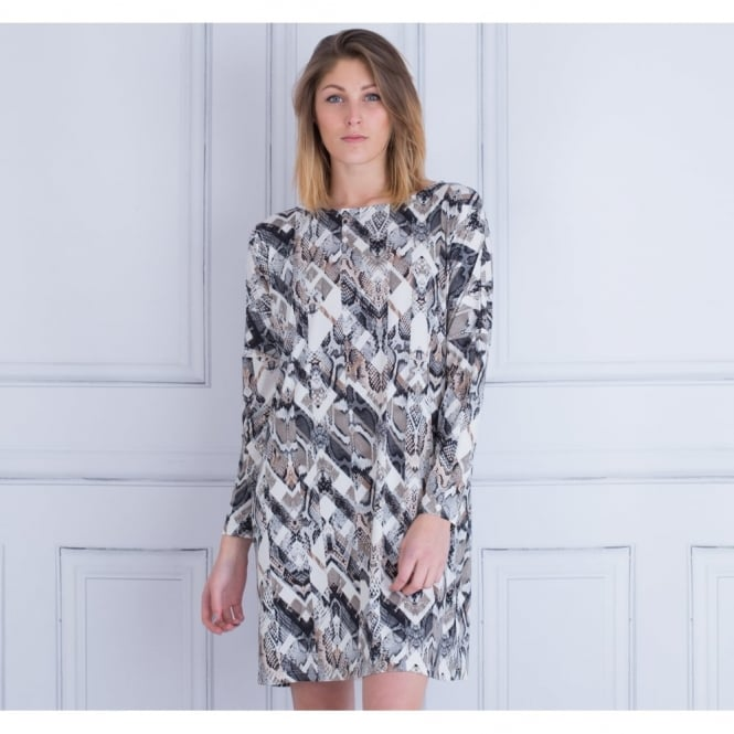 ILSE JACOBSEN Loose Bodied Snake Print Dress In Taupe & Grey