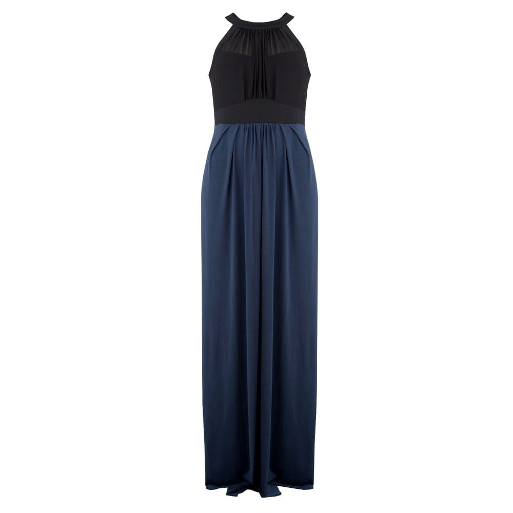 5faed9c3958b Ilse Jacobsen Maxi Dress with Chiffon and Back Tie in Navy and Black