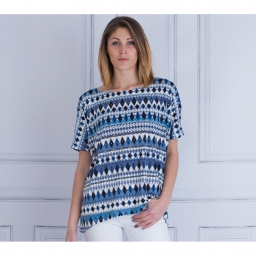 Short Sleeve Loose Bodied Diamond Print T-shirt In Blue & White