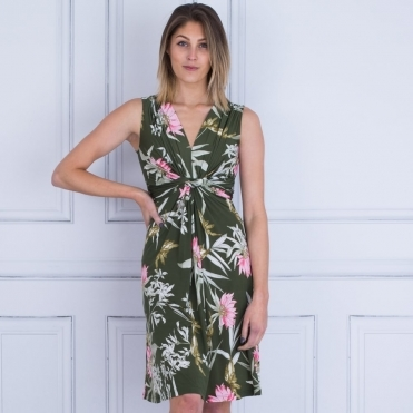 Sleeveless Knot Front Palm Print Dress In Khaki