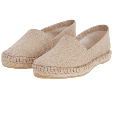 e899719387a5 Sparkly Flat Canvas Espadrille in Sand