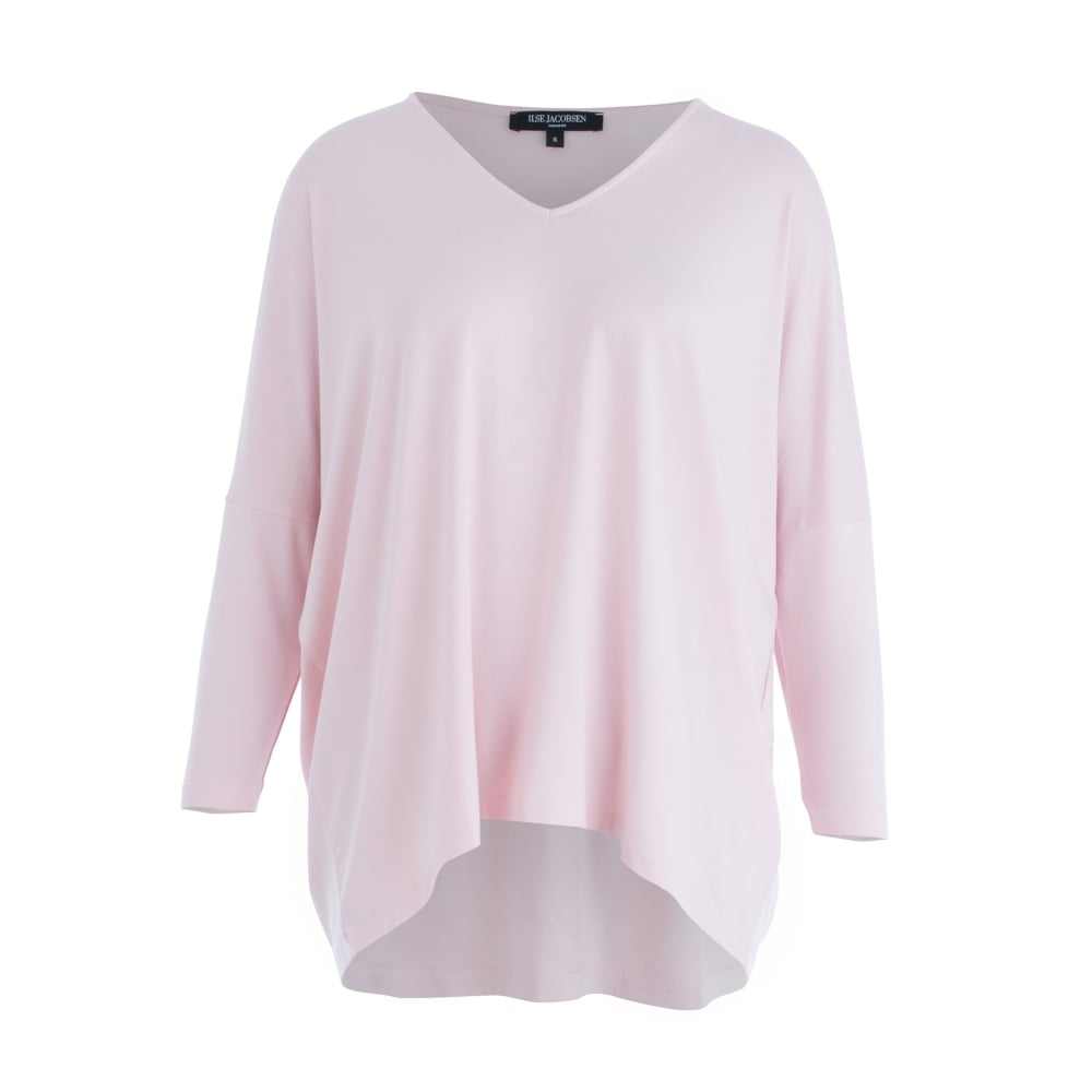62939576dd6e Ilse Jacobsen T-SHIRT 89 V-neck Jersey Loose Bodied T-shirt In Pink