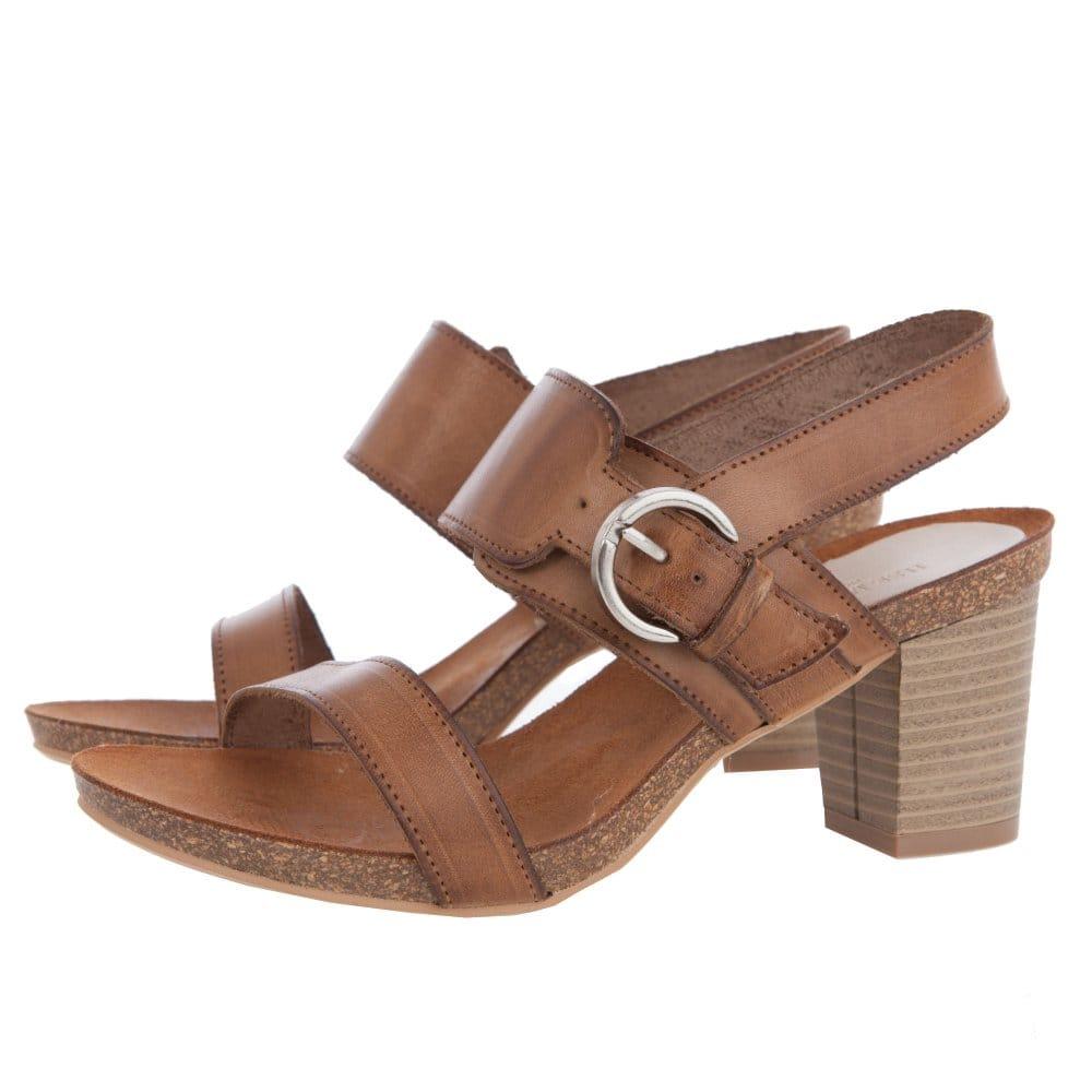 Ilse Jacobsen Wooden Block Mid Heel Buckled Sandal In Tan