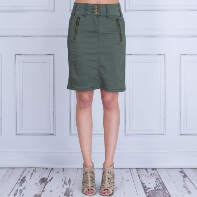 IN TOWN 3 Button Cotton Jean Skirt In Khaki Green