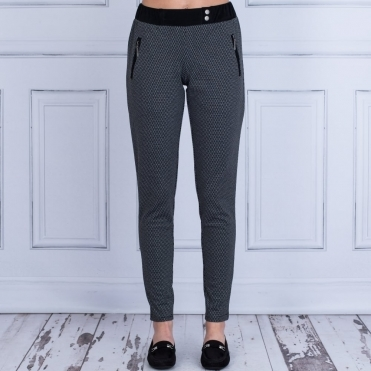 Black Printed Trouser With Suede Waist Band In Black