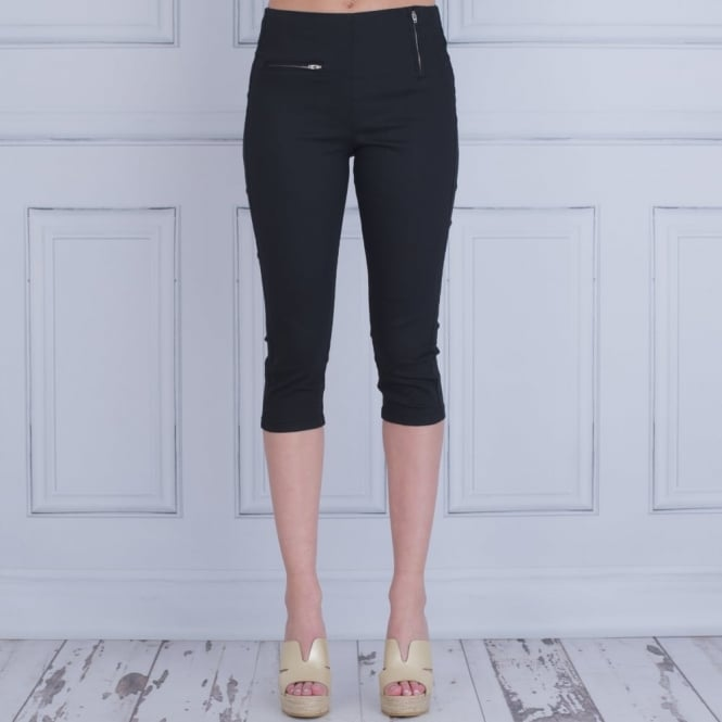 IN TOWN Capri Crop Cotton Jean With Zip Details In Black