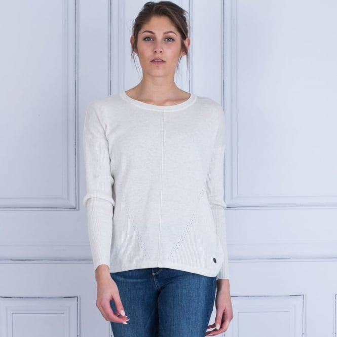 IN TOWN Cotton Mix Ribbed Sleeve Jumper With Split Back In Off White