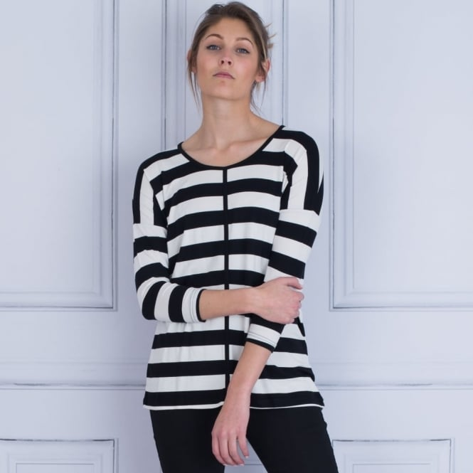 IN TOWN Wide Stripe Jersey Top With Centre Stripe In Black & Natural