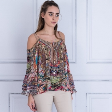 Embellished Cold Shoulder Tie Front Top In Multi