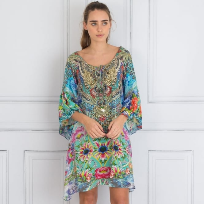 INOA Embellished Gypsy Dress With Tie Front Detail In Mint