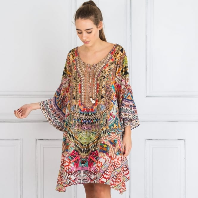 INOA Embellished Gypsy Dress With Tie Front Detail In Multi