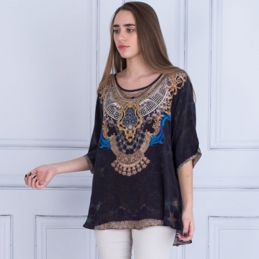 Embellished Round Neck Short Sleeve Printed Top In Midnight