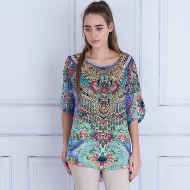 INOA Embellished Round Neck Short Sleeve Printed Top In Mint