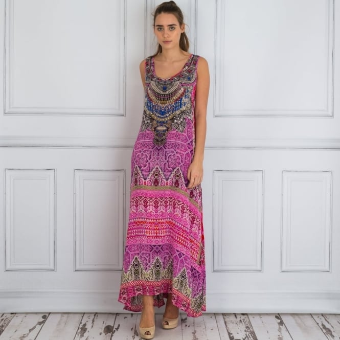 INOA Embellished Sleeveless Tile Print Maxi Dress In Pink