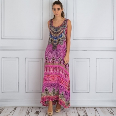 Embellished Sleeveless Tile Print Maxi Dress In Pink