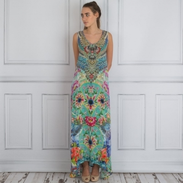 Embellished V Neck Printed Maxi Dress In Green Multi
