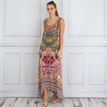 Embellished V Neck Printed Maxi Dress In Multi