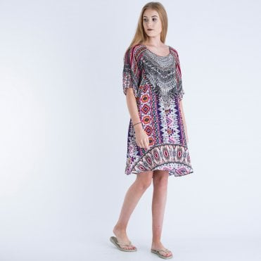 7e31cb9585ec0 Inoa Short Slit Sleeve Silk Embellished Dress Pink Multi