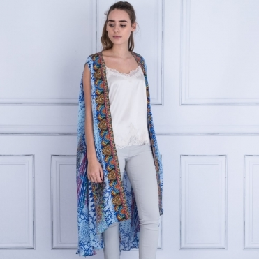 Sleeveless Open Front Kaftan With Embellishment In Blue