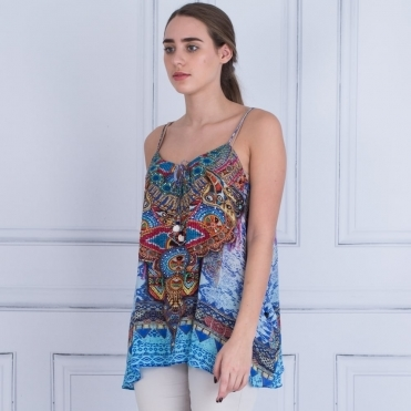 Spaghetti Strap Printed Cami With Tie Front In Blue