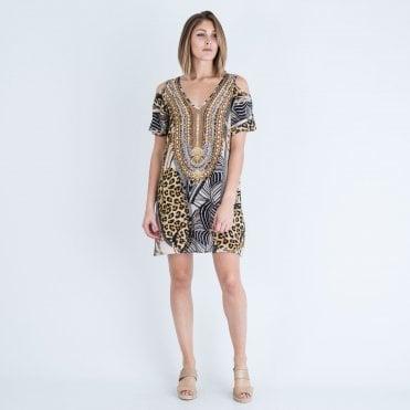 ffaaf46a70b37 Inoa V Neck Cold Shoulder Dress Bellagio Leopard Multi