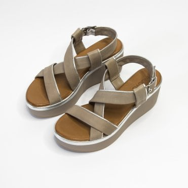 Inuovo Cross Strap Leather Wedge With Silver Pipe Grey
