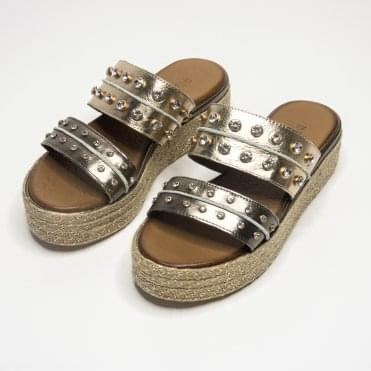 Inuovo Double Strap Sandal With Diamonte Detail Bronze