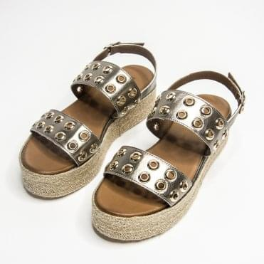 Inuovo Double Strap Sandal With Double Rivet Pewter